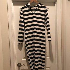 Long Sleeve Striped Hoodie Maxi Dress